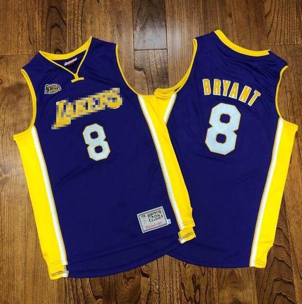 Maglie da basket da uomo LosAngeles.Lakers.Kobe.Bryant.Mitchell Ness 2000-01 Hardwoods Classics Retro Jersey e corto