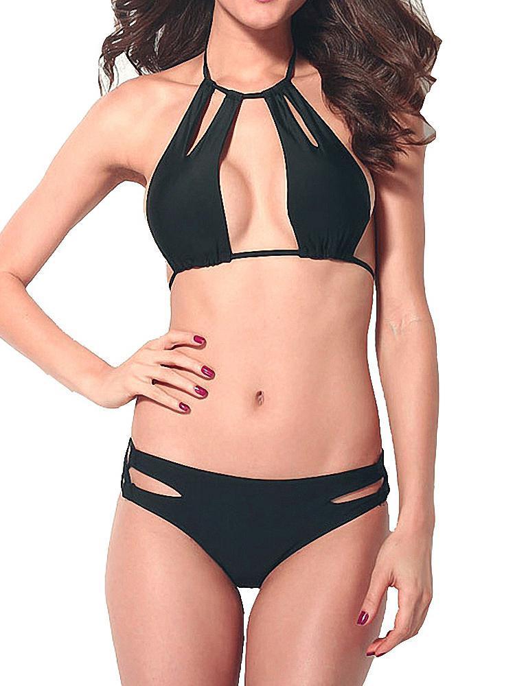 Yüksek Yaka Bikini Oymak Mayo Set Seksi Kadın Secrete Siyah Mayo Kadınlar Plaj Maillot de Bain Biquini Kadınlar