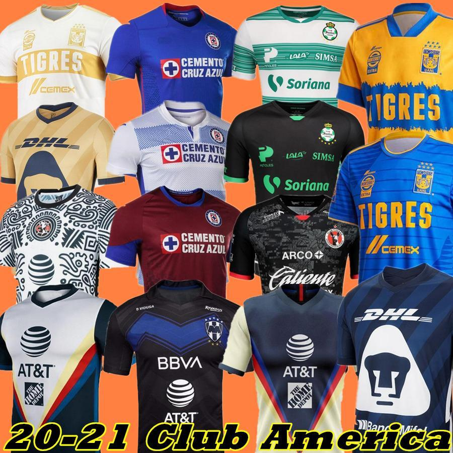 20 21 Club America Cruz Azul Soccer Jersey 2021 Guadalajara Chivas Tijuana Unam Tigres à la maison Troisième Liga MX Football Shirts Santos Laguna
