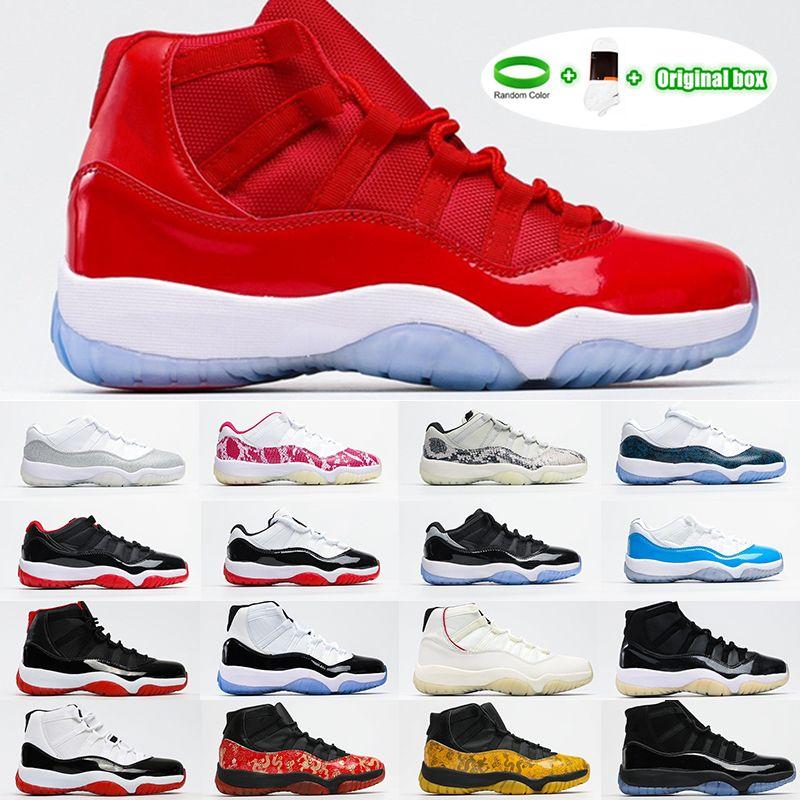 [Kutu ile] AIR JORDAN 11 RETRO LOW GS shoes 25. Yıldönümü BRED Concord 45 Uzay Reçeli Erkekler Basketbol Ayakkabı Indigo Oyunu Kraliyet Ters Oyunu Erkek Kadın Spor Sneakers