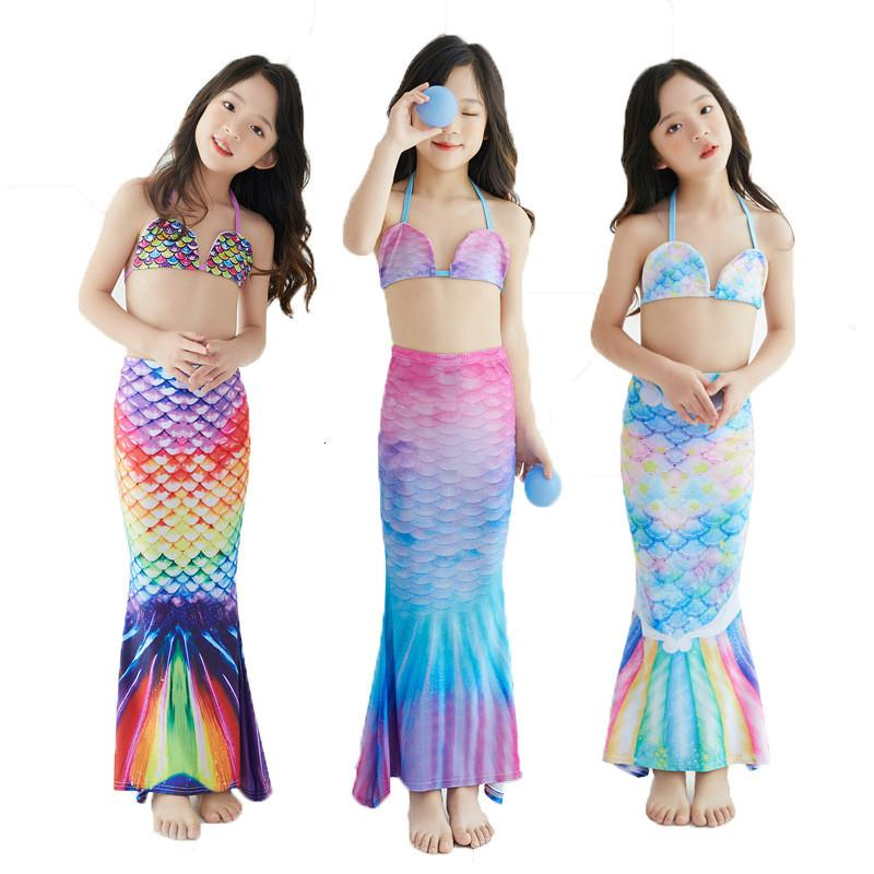 Kızlar Çocuklar Mermaid Mayo Kesim Kuyruk Mayo Çocuk Plaj Havuzu Cosplay Kıyafetler Bebek Yüzme Mayo