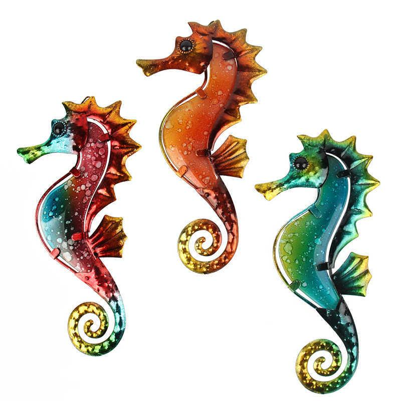 3pcs Metal Seahorse for Garden Decoration Outdoor Sculpture and Miniature Statues Ornaments Animal Jardin 210712
