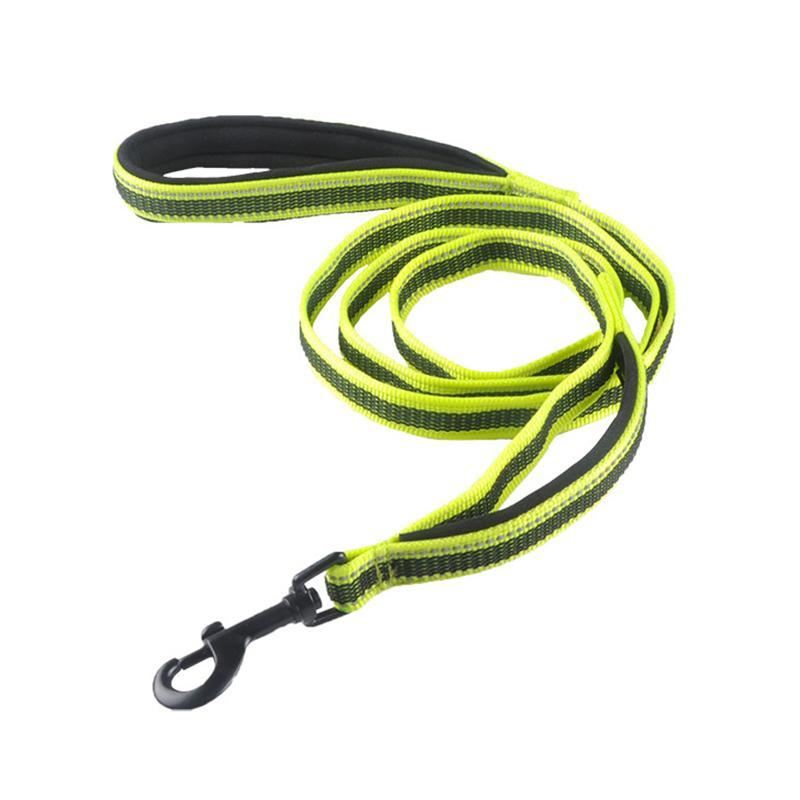 Colares colares de cão reflexivo 2 lidar com grande coleira antiderrapante borracha de borracha grande caminhada longa curto duplo pet treinamento corda