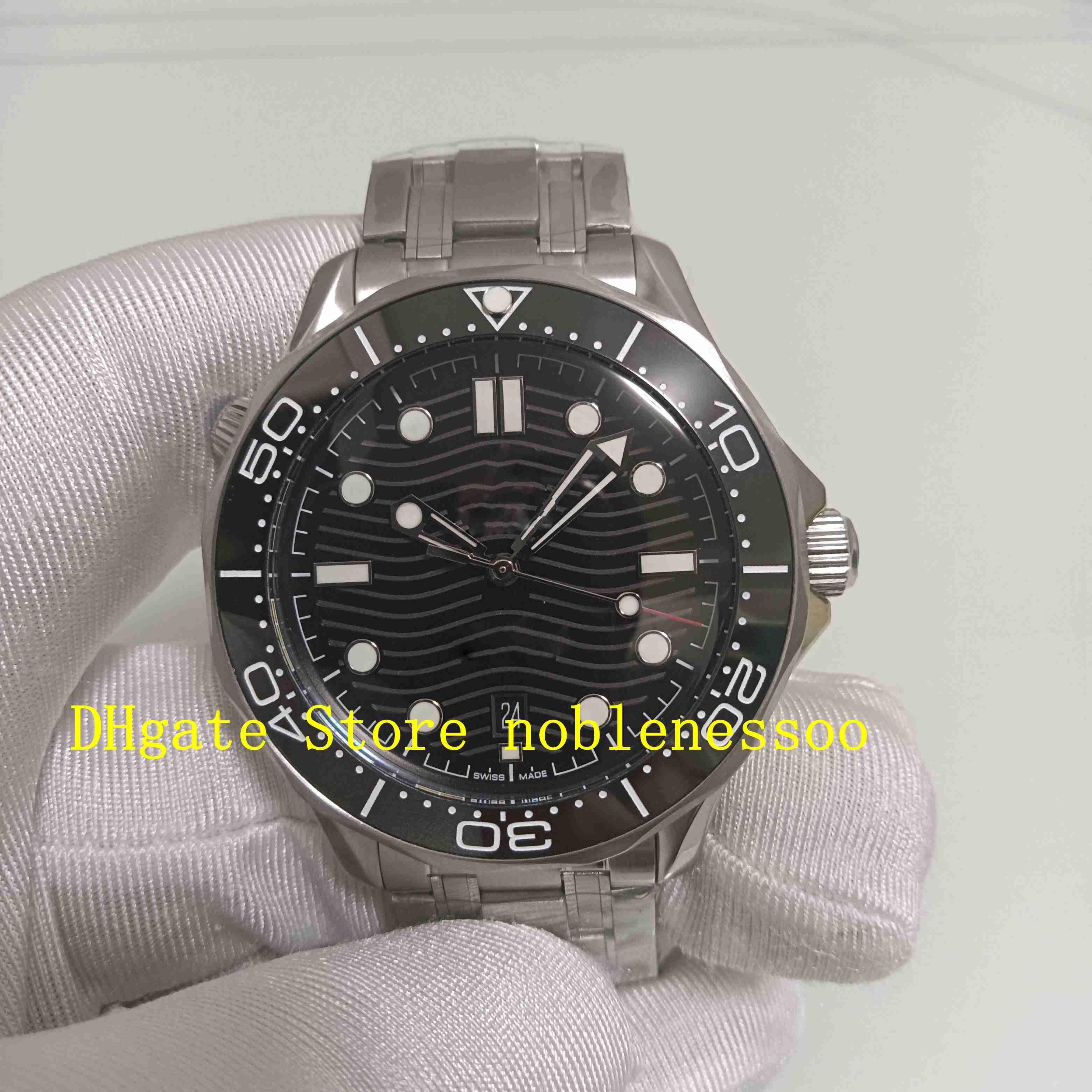 Süper Fabrika Otomatik CAL.8800 Hareketi İzle erkek Siyah Kadran 42mm Safir Cam 007 Dalgıç Spor Çelik Bilezik Mekanik Saatler Saatı
