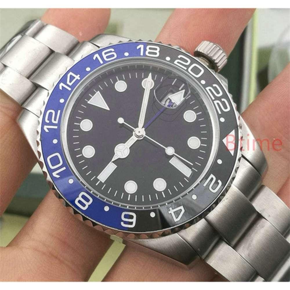 Lüks Seramik Çerçeve GMT Erkek Mekanik Paslanmaz Çelik Otomatik Hareketi 2813 İzle Erkekler Moda Saatler Tasarımcı Saatı W Donatella