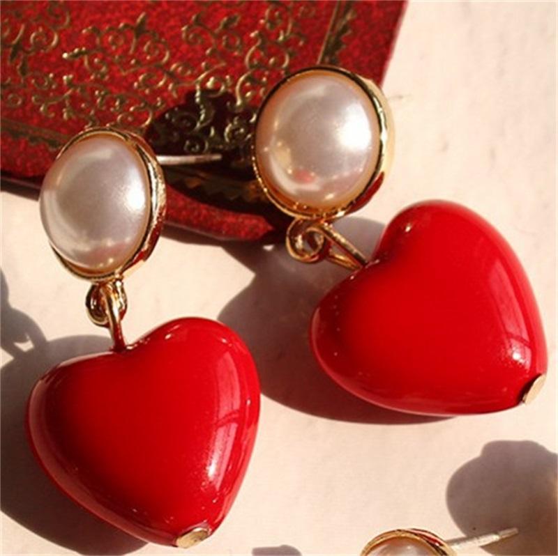 New Ins Mode Luxus Designer Nette Schöne Süße Herz Perle Anhänger Baumeln Kronleuchter Ohrstecker für Frau Mädchen S925 Silber Pin 90 R2