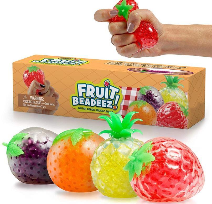 لعبة تنفيس الضغط الفاكهة الخرزة اليد قرصة تلعب سلسلة من الخرز شفافة