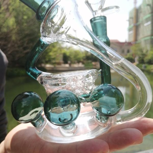 Reciclador Bong Beaker Base DAB Rigs Fumar vidrio Tubos de agua Bubbler Bongs de agua únicos con un tazón de 14 mm