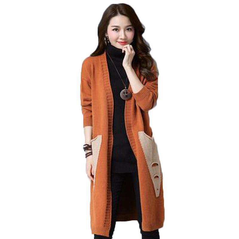 봄 가을 여성의 긴 코트 레이디 트렌디 한 니트 스웨터 인쇄 슬리브 여성 카디건 Femme 의류 N784 니트 티
