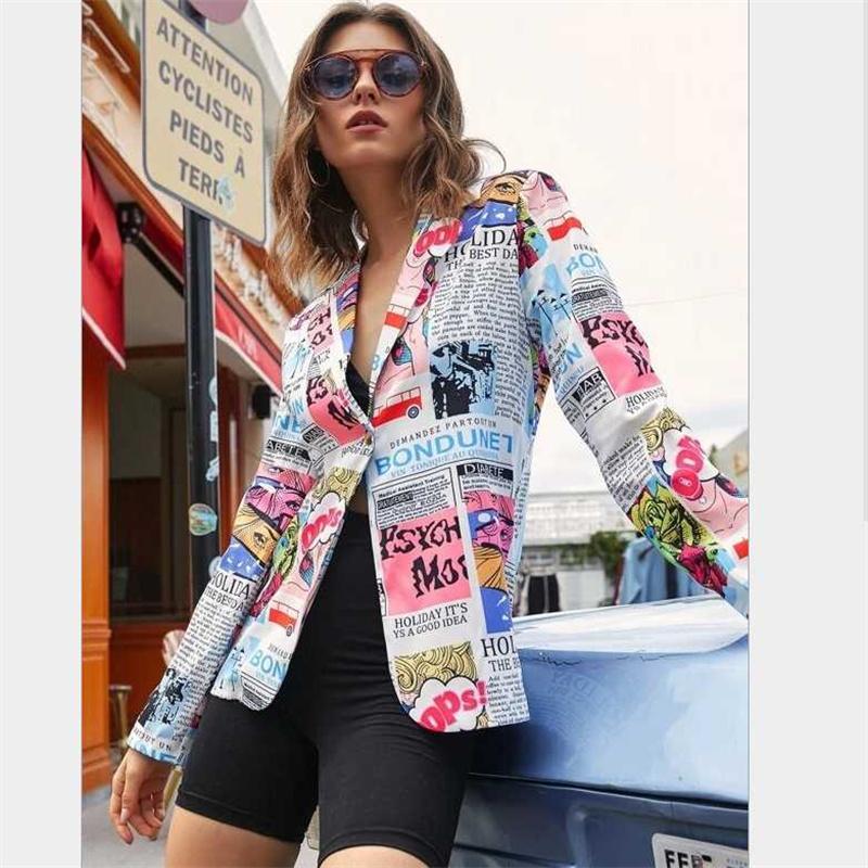 2021 kadın takım elbise bahar sonbahar tarzı Avrupa Amerikan baskılı bayanlar küçük takım elbise ceket ceket giysiler