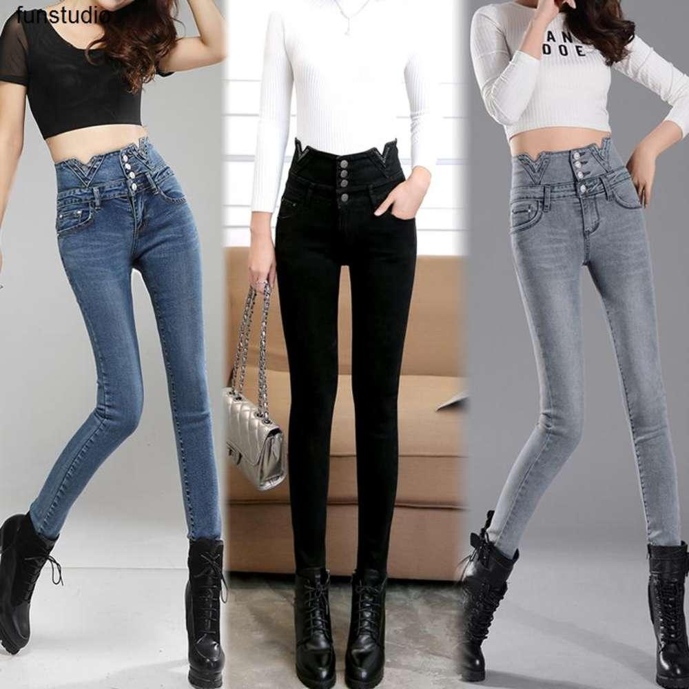 2021 Fashion Spring New Ladies Elastico Elastic Life Jeans Femmina Black Tight Feet Piccola molla marea