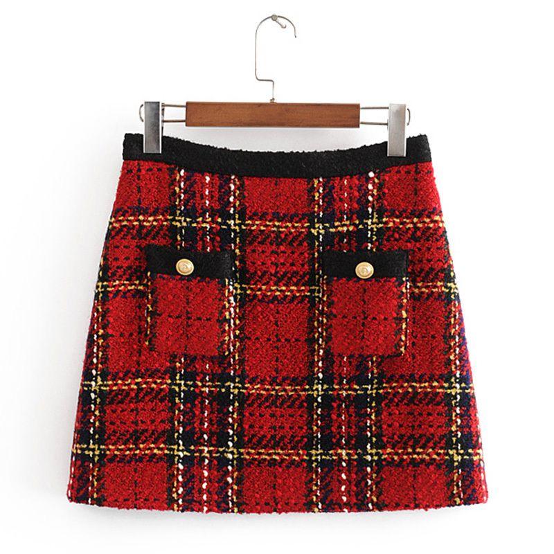 Chic Pockets Buttons Tweed Skirts Women Fashion Casual Plaid Skirt Elegant Ladies A Line Mini Skirts Casual Faldas 210325