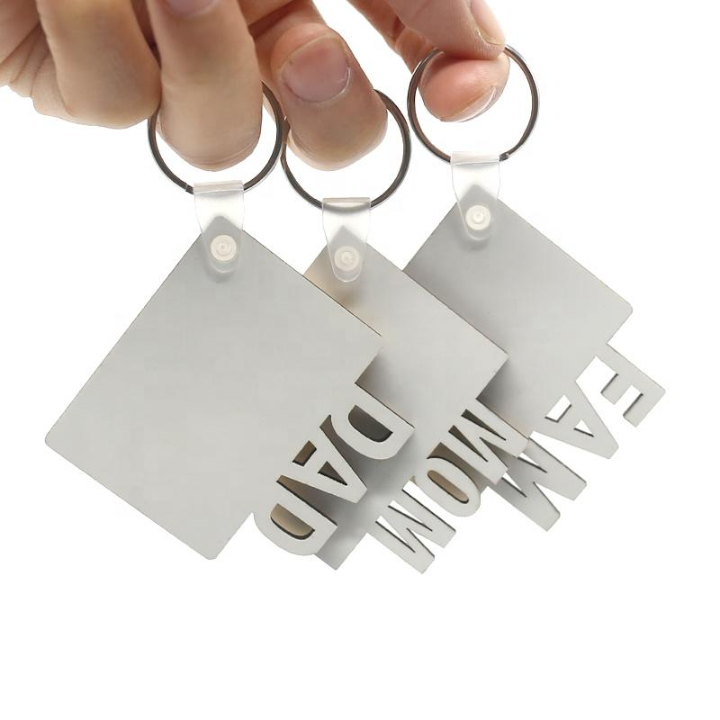 Sublimation Schlüsselanhänger Mama Papa Fam Fam Love Grad Keychain Vaters Muttertag Geschenk Party Favor RECHEN MDF Custom Key Ringe