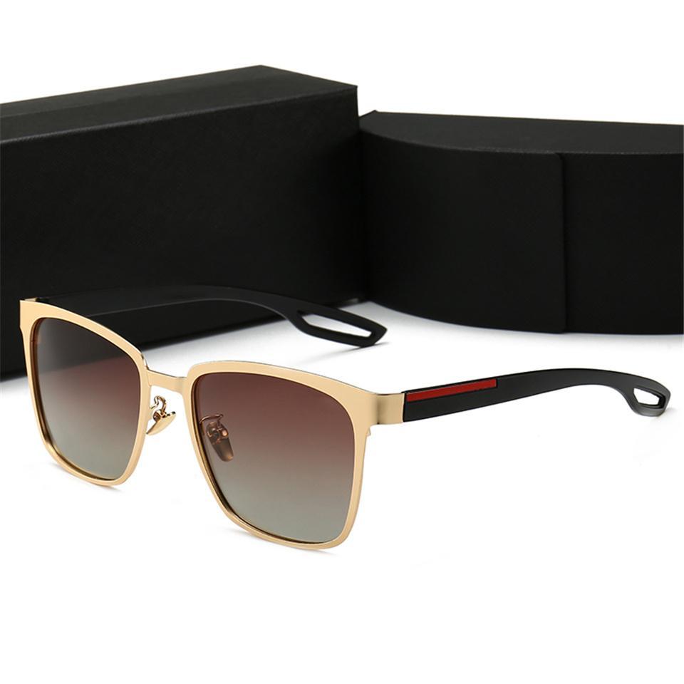 고품질 레트로 편광 럭셔리 남성 디자이너 선글라스 무선없는 골드 도금 사각형 프레임 브랜드 태양 안경 패션 안경