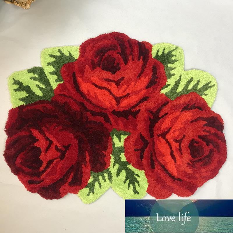 Teppiche S Hohe Qualität 3 Slitless Rose Art Teppich Schlafzimmer / Nachttisch Matte Rote Blume Teppich Nachttisch Wohnzimmer Wohnzimmer Bad Mats1 Fabrik Preis Experten Design Qualität Neueste