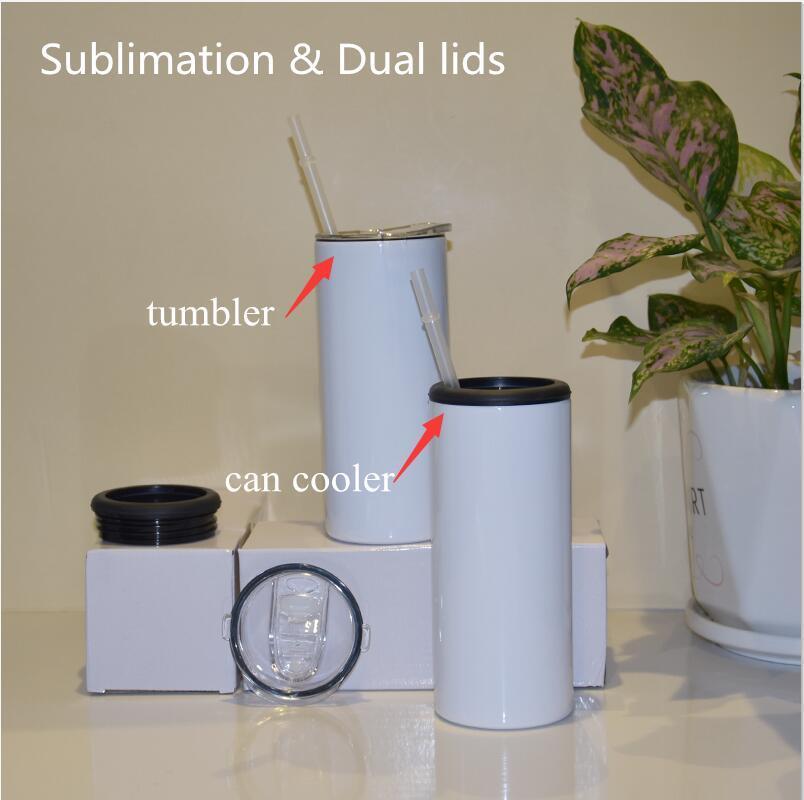 15 oz çift kapaklar süblimasyon sıska sıska serin tumbler 355 ml düz bardaklar saman ile paslanmaz çelik vakum yalıtımlı soğuk depolama tankı için kola şişesi için