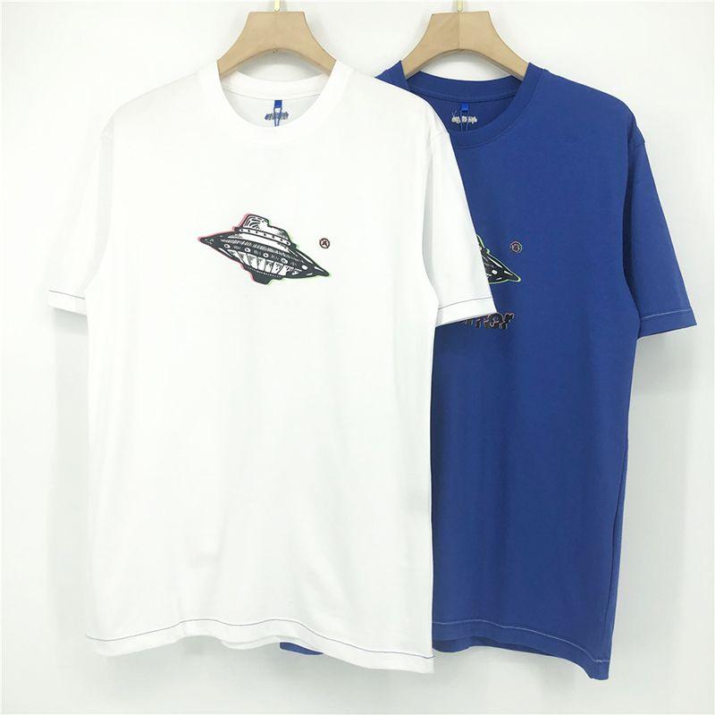유럽 미국 UFO 인쇄 티 스케이트 보드 하이 스트리트 티셔츠 남성 여성 짧은 소매 캐주얼 힙합 Tshirt