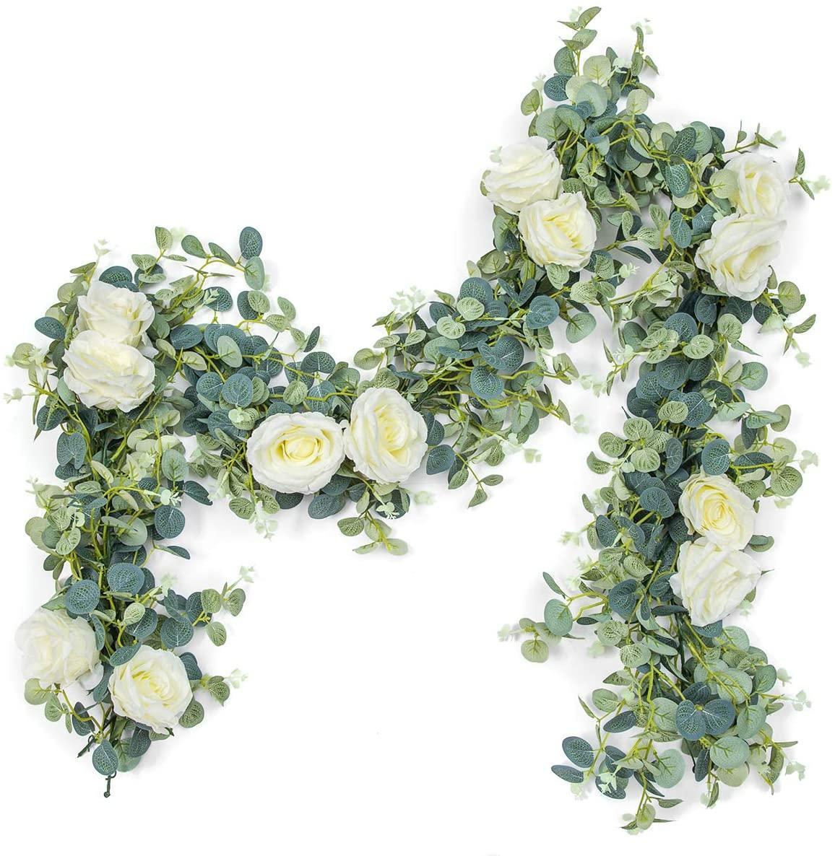 الاصطناعي الأوكالبتوس الزهور الصفصاف أوراق جارلاند كرمة الزفاف الديكور زهرة الخضراء ديكور المنزل في حزب الجدول الجدول جدار الأخضر ورقة الديكور