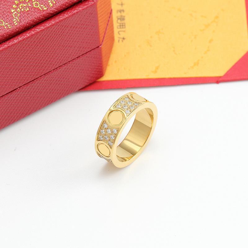 2021 aço titânio de prata rosa ouro cheia zircão amor banda anel homens e mulheres parafuso padrão jóias casal casamento presente