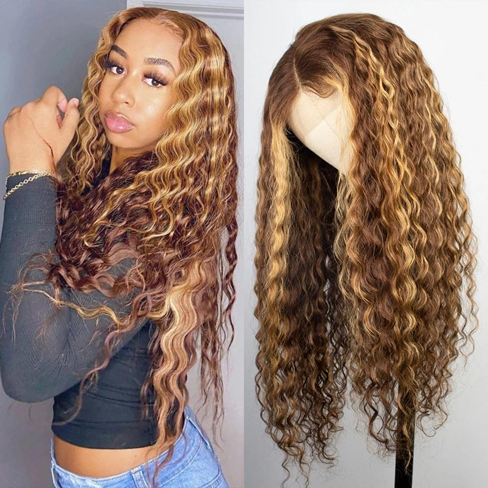 Highlight Color Human Hair Curly Deep Water Wave Frontal Wigs for Black Women Brazilian 13x1 T Part Honey Blonde Synthetic Lace Front Wig