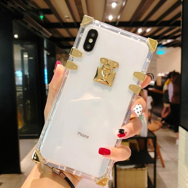 Designer Moda Quadrado Clear Capas Celulares Capas De Metal Cristal Capa de Cristal Shell para iPhone 13 12 11 Pro Max XR XS 8 7 6 Plus