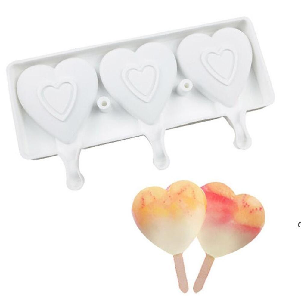 새로운 가정 식품 안전 실리콘 아이스크림 금형 3 세포 심장 모양 냉동 주스 아이스크림 메이커 디저트 곰팡이 욕조 발렌타인 HWE6929