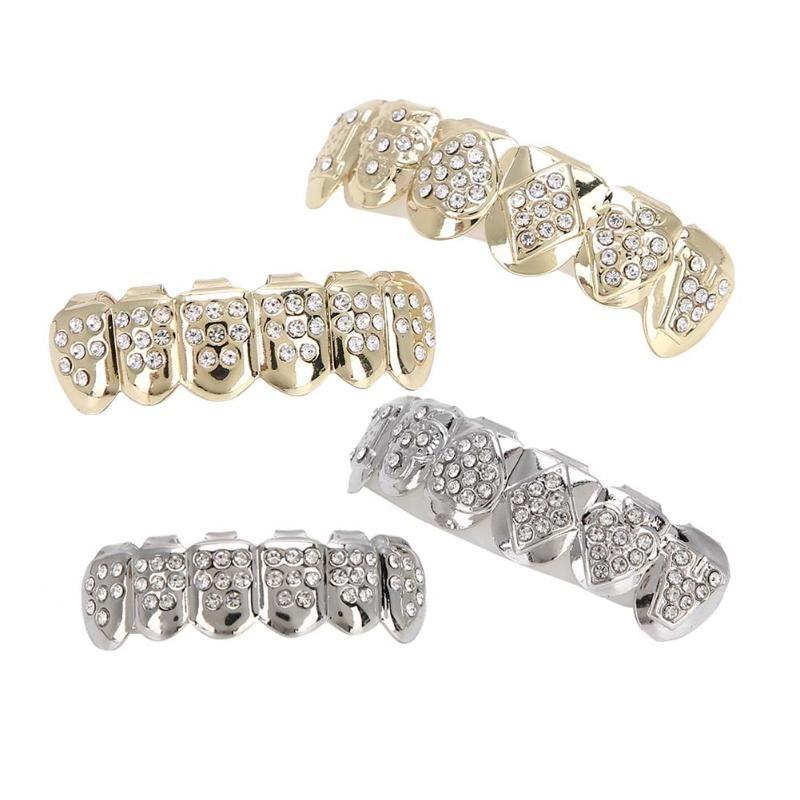 Trimmatori per orecchio naso elettrico argento / oro placcato denti Griglie di denti Bling Hip Hop Cosplay