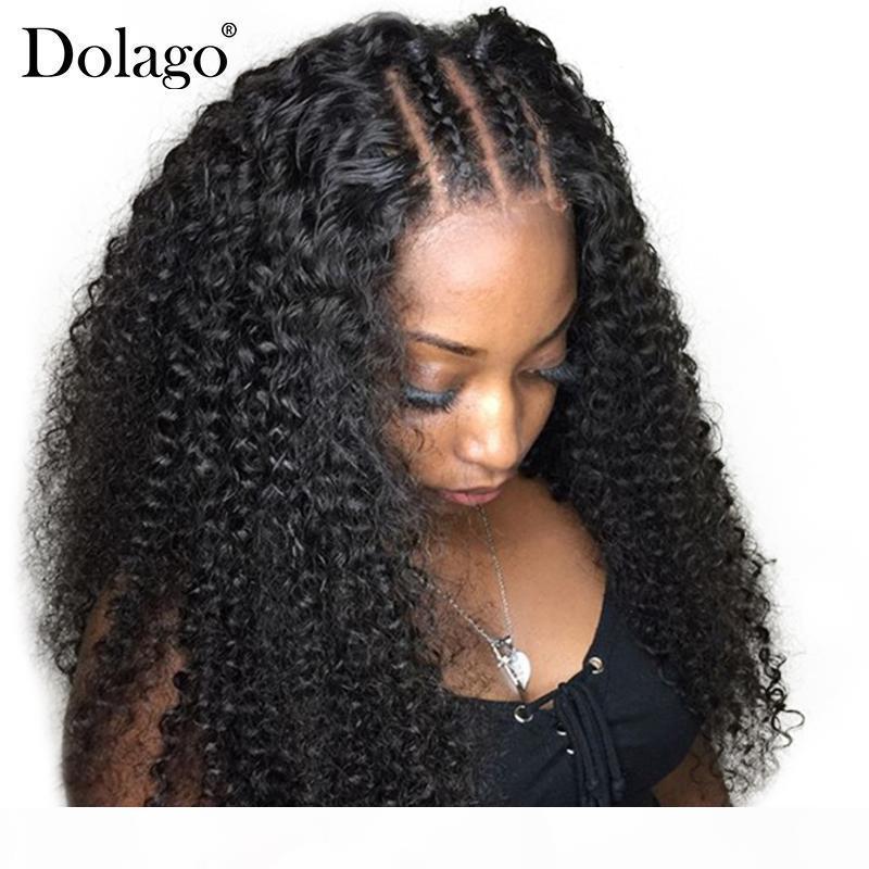 250% Densité Deep Burly Dentelle Front Human Hair Perruques pour femmes Brésilien 13x6 Dentelle Avant Perruque Front Black Long Dolago Remy