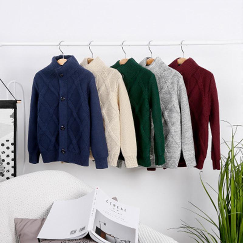 어린이 knitte 스웨터 겨울 의상 스타일 아기 두꺼운 터틀넥 카디건 패션 소년 소녀 면화 따뜻한 스웨터