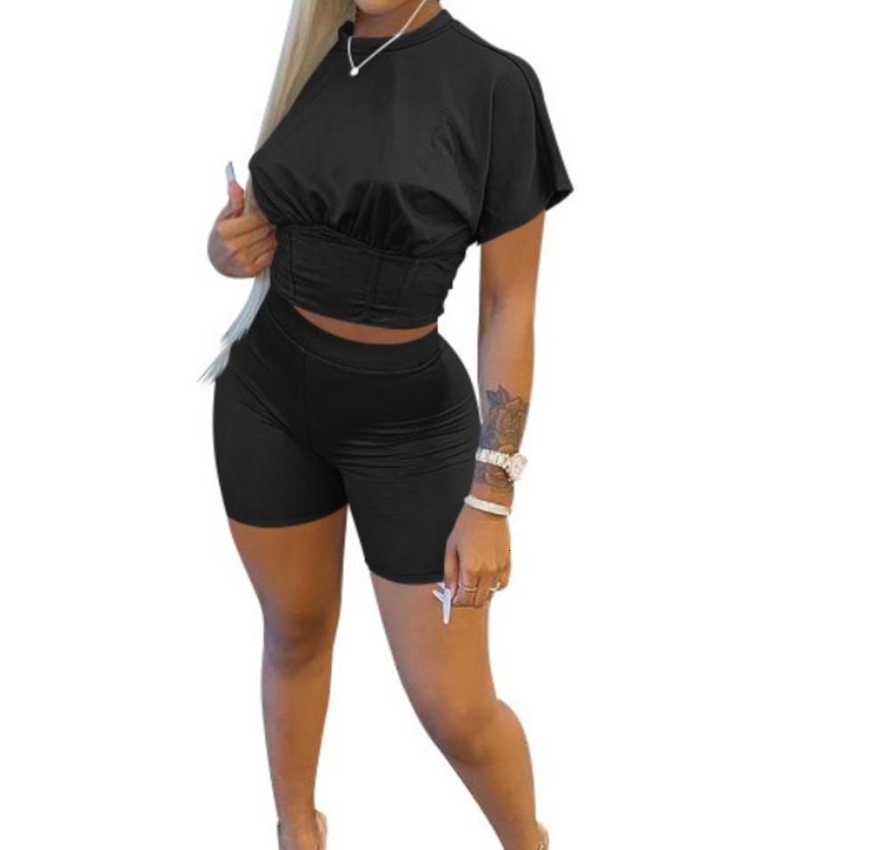 Outfit mulheres primavera e verão cor sólida esportes cintura fechamento terno lazer dois pedaço conjunto