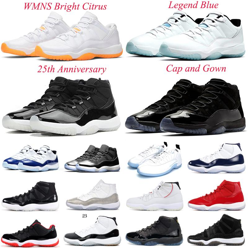 Hava Ürdün Retor 11s Erkekler Basketbol Ayakkabıları Düşük WMNS Parlak Narenciye 25th Yıldönümü Kap ve Kıyafeti Concord 45 Uzay Reçel Erkek Kadın Ürdülü 11 Spor Sneakers