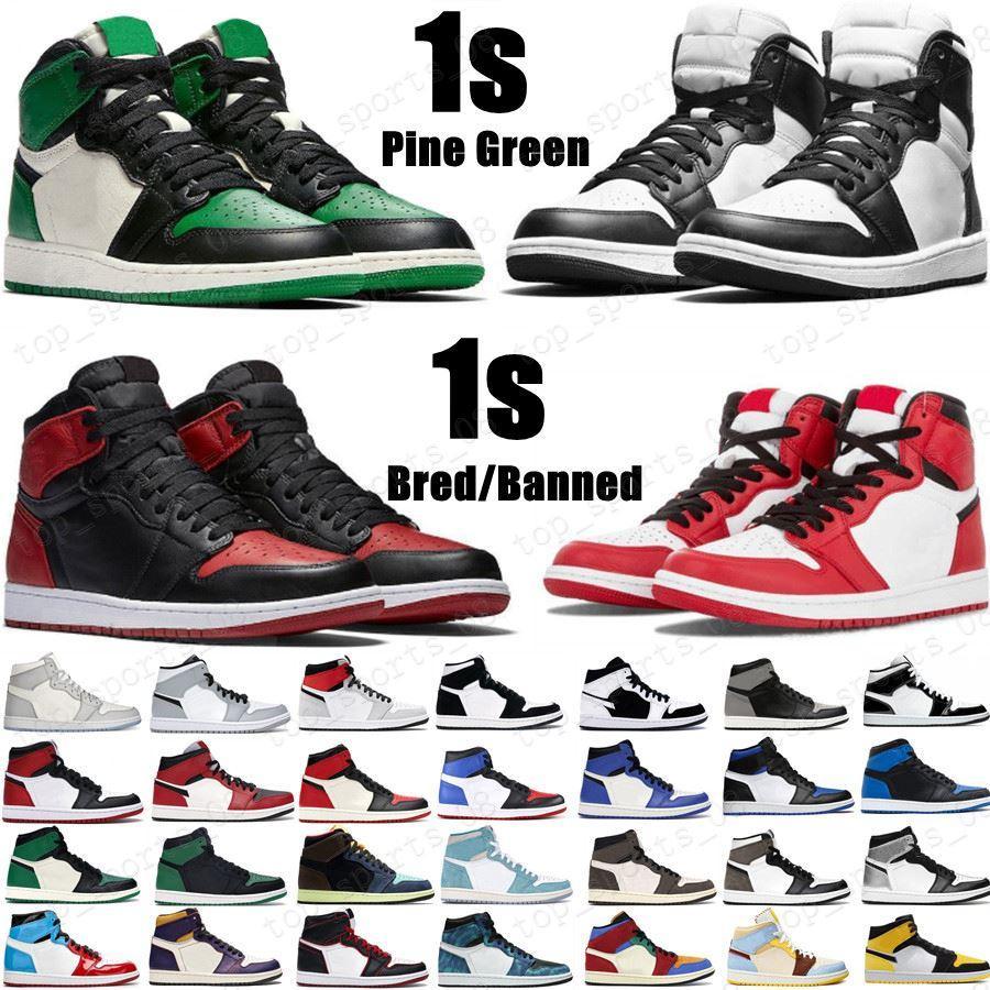 جديد الصنوبر الأخضر الأسود 1 ثانية أحذية كرة السلة jumpman 1 دماء الرجال مصمم أحذية رياضية الخوف من سبج براءات الاختراع الذهب أسود أخمص