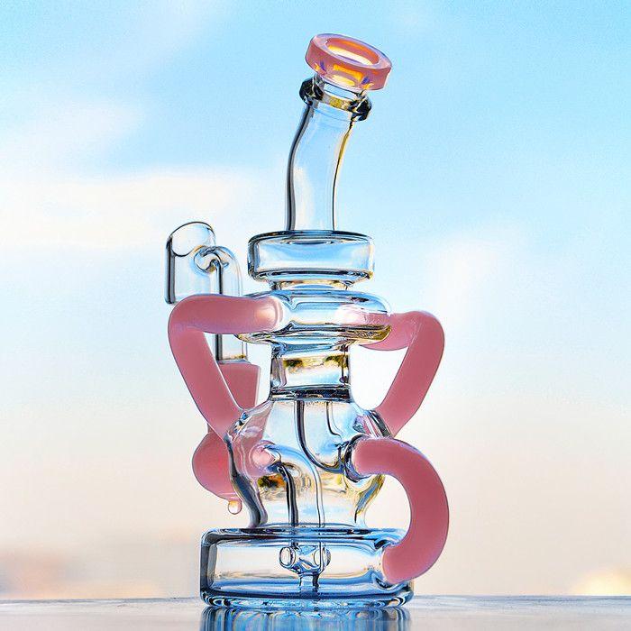 7.8 인치 핑크 왁스 오일 유리 독특한 봉지 물 담뱃대 재활용 기름 굴착기 2 월 달걀 연기 파이프 14mm Banger와 두꺼운 유리 물 봉