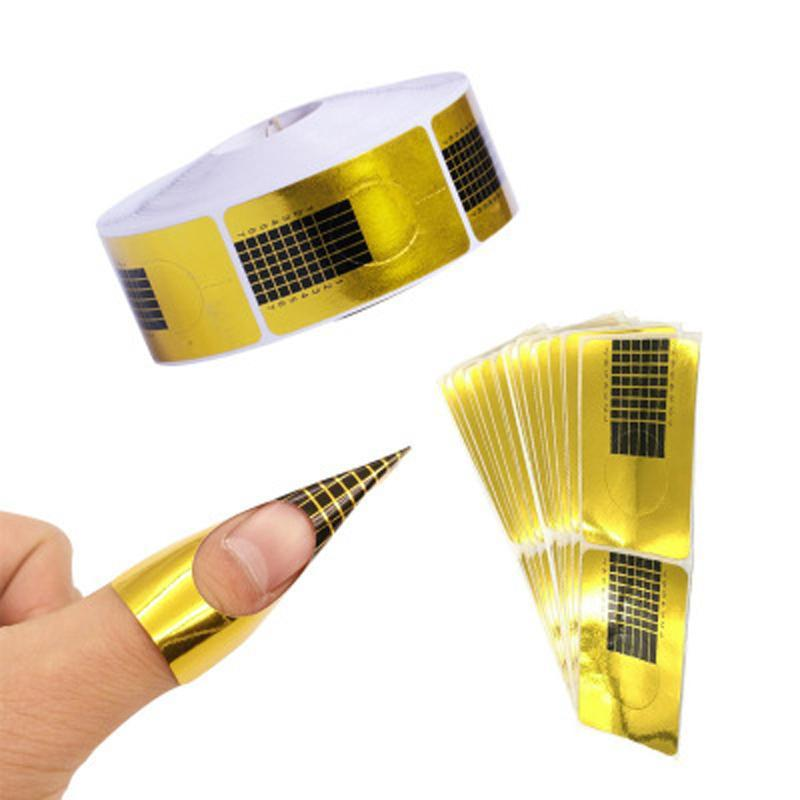 False Nails 500pcs French Nail Form Tips Acrylic UV Gel Extension Curl Builder Sticker Art Guide Mold Manicure DIY Tool