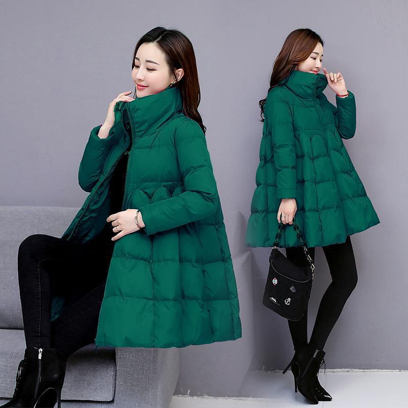 패션 A 라인 코튼 코트 여성의 겨울 자켓 2021 여성 퀼트 파카 특대의 느슨한 큰 크기의 착용 파카