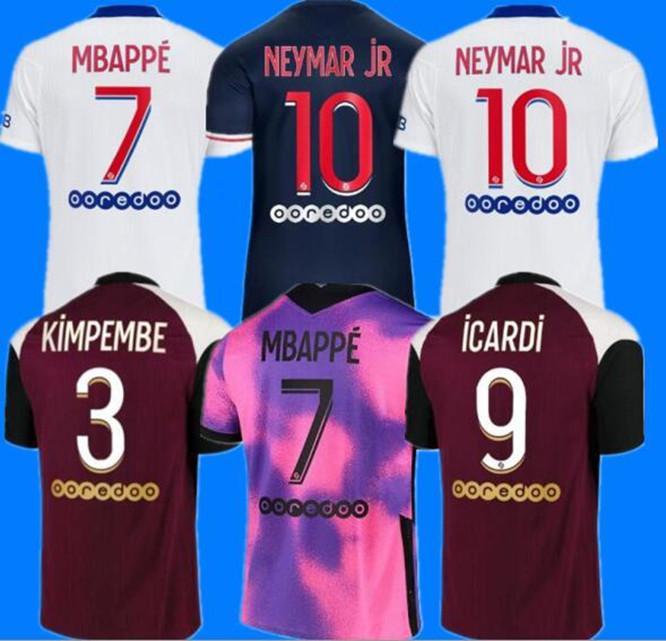 PSG maillot psg maillot de foot Paris Saint Germain MBAPPE Maillots de football 20 21 2020 2021 NEYMAR JR ICARDI hommes + enfants de la chemise Quatrième soccer jerseys