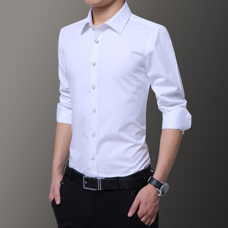 Blanco Juvenil Slim Shirt de negocios Casual Color Sólido Moda Moda de manga larga Hombres