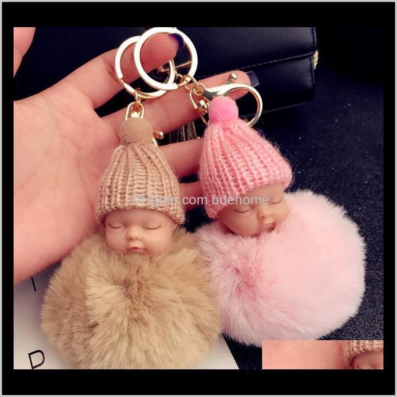 키 체인 패션 드롭 배달 2021 다채로운 귀여운 잠자는 아기 인형 키 체인 Pompom 토끼 모피 볼 체인 자동차 열쇠 고리 키 홀더 가방 펜턴
