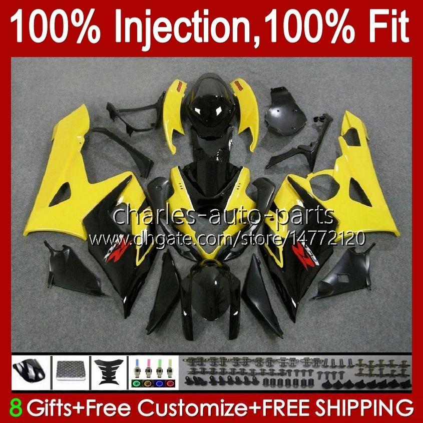 Body Injection Mold voor Suzuki GSXR 1000CC 1000 CC K5 GSXR1000 05 06 Carrosserie 11HC.16 GSXR-1000 2005 2006 Cowling GSX-R1000 GSX R1000 05-06 OEM Fairing Yellow Blk Stock