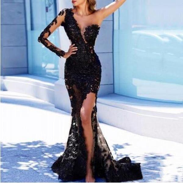 우아한 저녁 공식 드레스 2021 가운 한 어깨 긴 소매 드레스 블랙 레이스 섹시한 스타일 높은 슬릿 인어 바닥 길이 댄스 파티