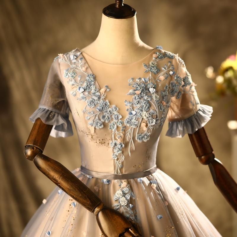 100% echte Luxusweinlese exquisitive Stickerei Perlen Fairy Dream Schleier Mittelalterliches Kleid Renaissancekleid Prinzessin Victorian Venedig / Marie Antoinett Belle Ball