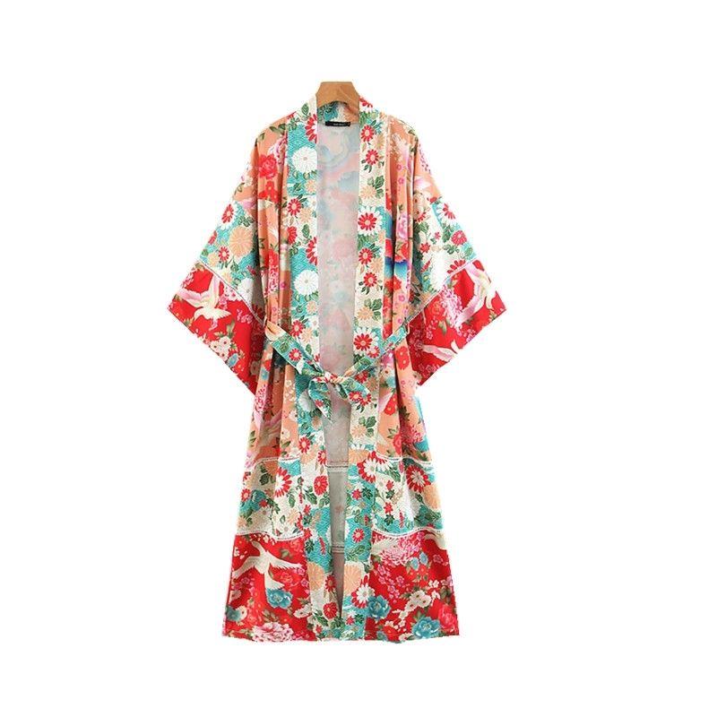 Mulheres Japonesas Florais Impressões Kimonos Long Cardigans Confortável Algodão Linho Plus Size Verão / Outono New Womens Casaco