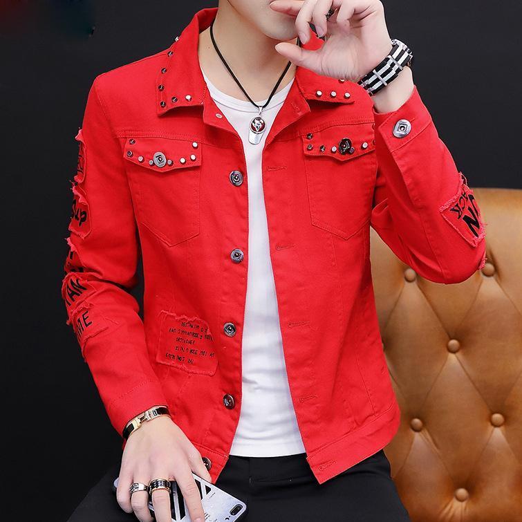 Jaquetas masculinas Homens Primavera e Jeans Outono Casaco Coreano Estudantes de Moda Bonita Rebite Crudado Denim Casaco Estilo de Rua