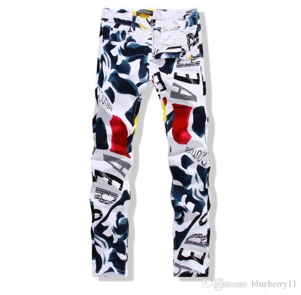 Mens Denim Pants Autumn New Man Casual Pants Fashion 3D Painted Jeans White Skinny Cotton Trousers