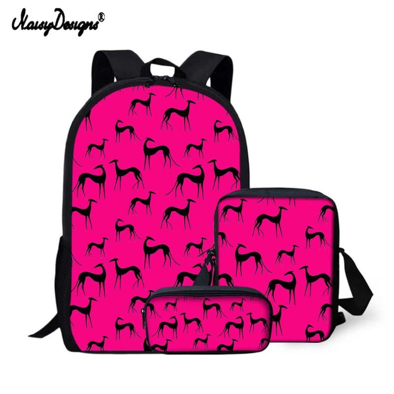 School Bags NOISYDESIGNS 2021 3Pcs/Set Cute Colorful Greyhound Dog Printing Backpack Casual Fashion Design Book For Kid