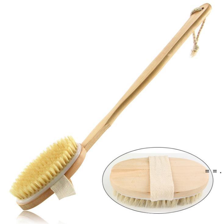 Brosses de nettoyage en bois Brosses à poils naturels Brosse de corps Massager Bain Bain Brosse Poignée longue Back Spa Scrubber 7 * 42cm OWF5725