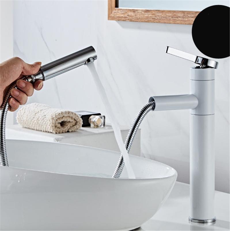 Badezimmer Waschbecken Wasserhaare Küchenbecken Wasserhahn Einzelne Griff Ziehen Spray Tap X37B