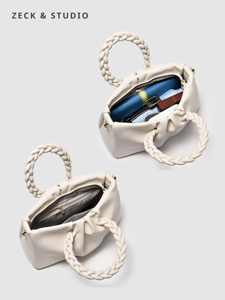 ZECK niche design bag female wild 2021 new Messenger bag high-level pleated wrinkle shoulder hand brown bag