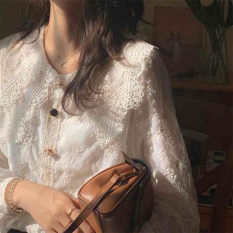 Fransız Vintage Bluz ve Kadınlar Rahat Dantel Zarif Gömlek Kadın Tatlı Peter Pan Yaka Tasarım Kore Tarzı Tops Lady Y2K 210323