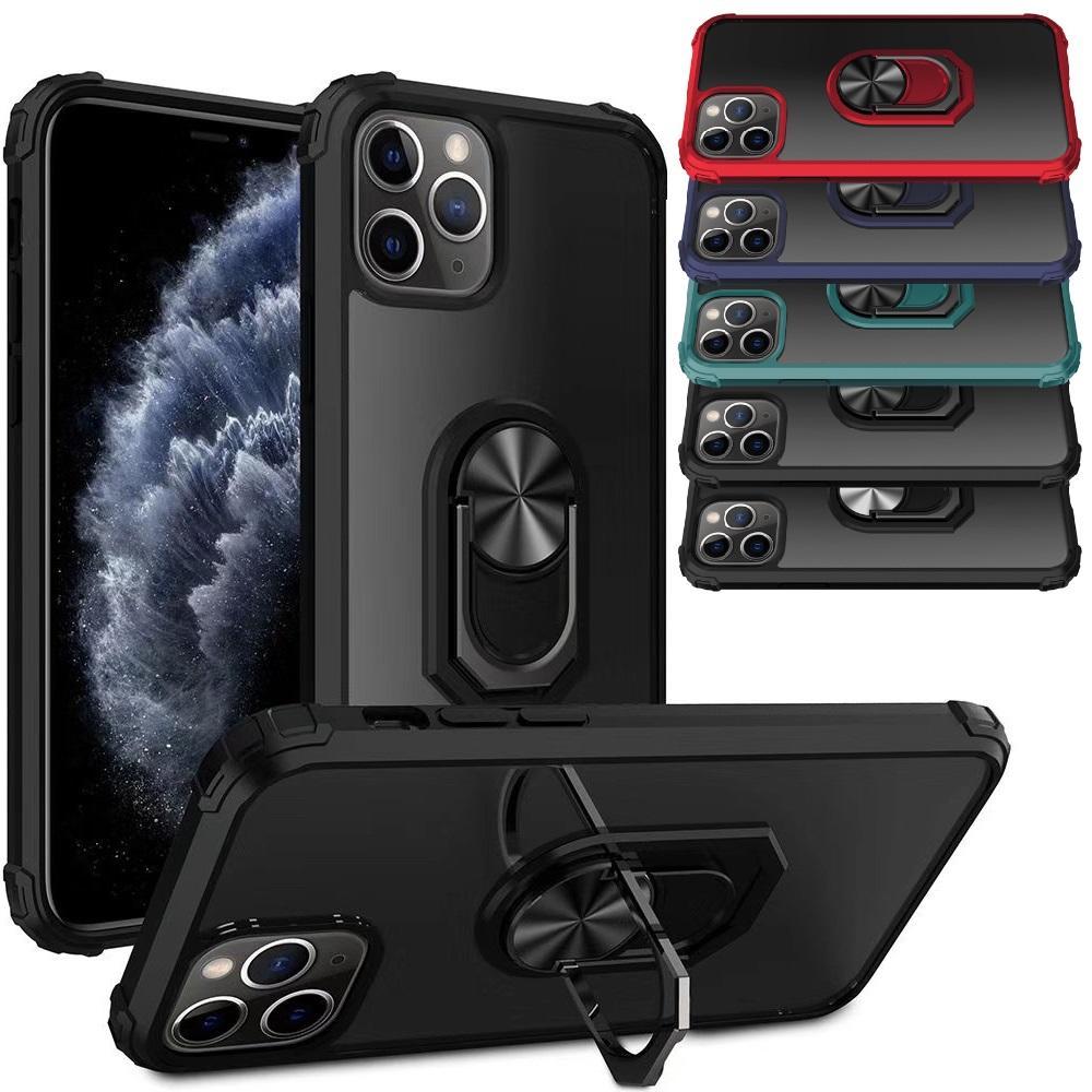 투명 갑옷 Shockproof 전화 케이스 손가락 반지 홀더 커버 아이폰 12 11 x xr 6 7 8 플러스 삼성 S10 S20